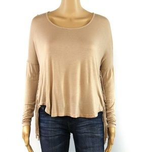 Ultra Flirt Juniors' Top Blouse Beige Asymmetrical